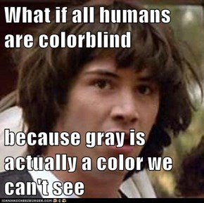 What if all humans are colorblind  because gray is actually a color we can't see