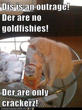 Dis is an outrage! Der are no goldfishies!  Der are only crackerz!