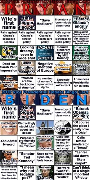 Vice Presidential Debate Bingo