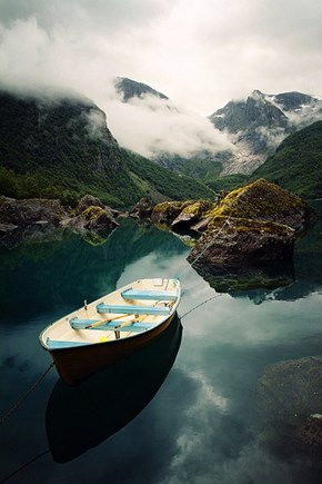 Row Out Into the Bondhusvatnet Lake in Norway