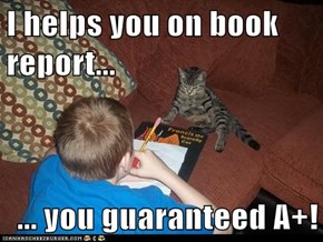 I helps you on book report...  ... you guaranteed A+!