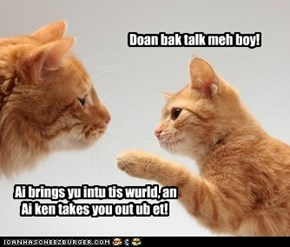 Doan bak talk meh boy!