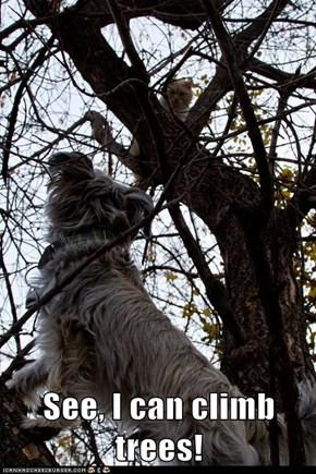 See, I can climb trees!