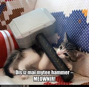 Dis iz mai mytee hammer -- MEOWNIR!