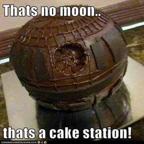 Thats no moon..  thats a cake station!