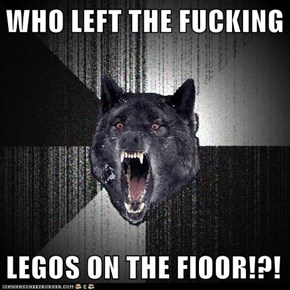 WHO LEFT THE FUCKING   LEGOS ON THE FlOOR!?!