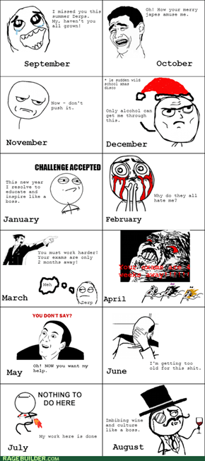 Teacher's Mood Calendar - a handy guide for the student Derp.