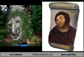 mt rusmore Totally Looks Like jesus painting