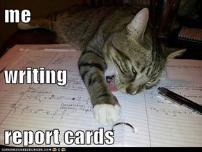 me writing report cards