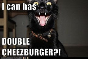 I can has  DOUBLE CHEEZBURGER?!