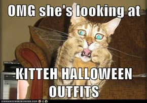 OMG she's looking at  KITTEH HALLOWEEN OUTFITS