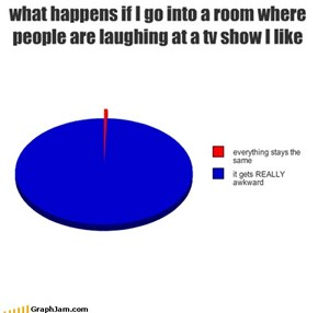 what happens if I go into a room where people are laughing at a tv show I like