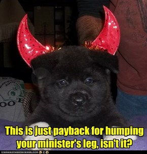 This is just payback for humping your minister's leg, isn't it?