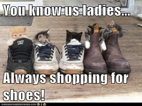 You know us ladies...  Always shopping for shoes!
