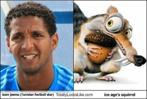 isam jeema (Tunisian football star) Totally Looks Like ice age's squirrel