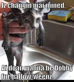 Iz changin mai mined.  Ai doan wanna be Dobby fur hallow-weenz.