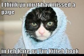 I think yu muzt hav missed a page   in teh Kare ov Yur Kitteh book