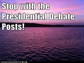 Stop with the Presidential Debate Posts!
