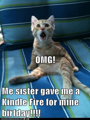 OMG! Me sister gave me a Kindle Fire for mine birfday!!!!