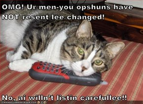 OMG! Ur men-you opshuns have NOT resent lee changed!  No, ai willn't listin carefullee!!