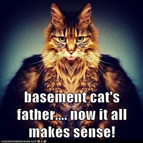 basement cat's father.... now it all makes sense!