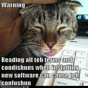 Warning  Reading all teh terms and condishuns when installing new software can cause teh confushun