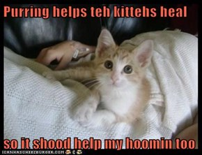 Purring helps teh kittehs heal  so it shood help my hoomin too