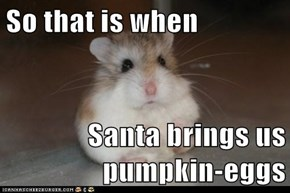 So that is when  Santa brings us pumpkin-eggs
