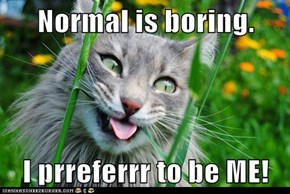 Normal is boring.  I prreferrr to be ME!