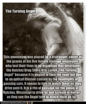 "This monument was placed by a distraught  owner at    the graves of his five female teenage employees     who lost their lives in an explosion that destroyed the Natchez Drug Store. It is called ""The Turning       Angel"" because it is angled to face the r"