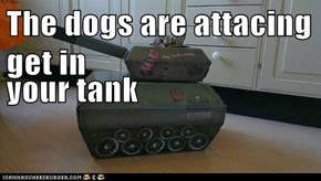 The dogs are attacing get in your tank