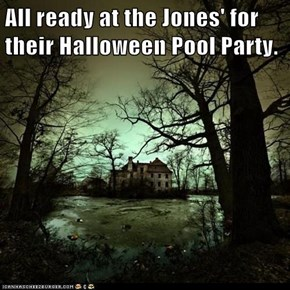 All ready at the Jones' for their Halloween Pool Party.