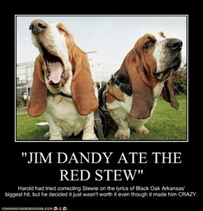 """JIM DANDY ATE THE RED STEW"""