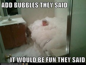 ADD BUBBLES THEY SAID  IT WOULD BE FUN THEY SAID