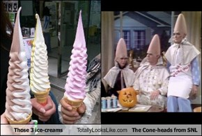 Those 3 ice-creams Totally Look Like The Cone-heads from SNL