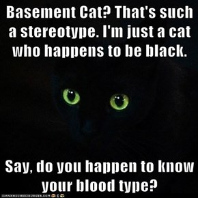 Basement Cat? That's such a stereotype. I'm just a cat who happens to be black.  Say, do you happen to know your blood type?
