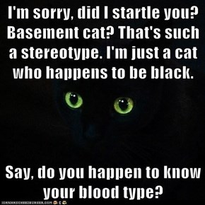I'm sorry, did I startle you? Basement cat? That's such a stereotype. I'm just a cat who happens to be black.  Say, do you happen to know your blood type?