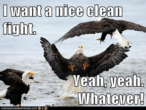 I want a nice clean fight.  Yeah, yeah.  Whatever!