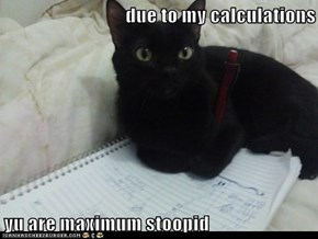 due to my calculations   yu are maximum stoopid