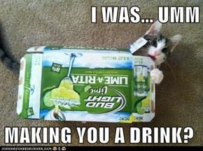 I WAS... UMM  MAKING YOU A DRINK?