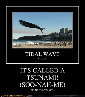 IT'S CALLED A  TSUNAMI! (SOO-NAH-ME)
