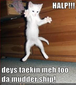 HALP!!!  deys taekin meh too da mudder ship!