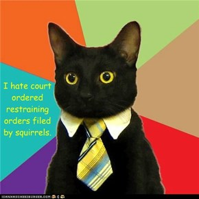 I hate court ordered restraining orders filed by squirrels.