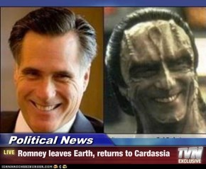 Political News - Romney leaves Earth, returns to Cardassia