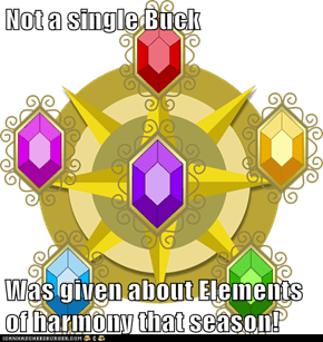 Not a single Buck  Was given about Elements of harmony that season!