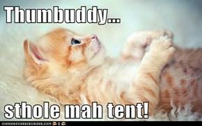 Thumbuddy...  sthole mah tent!