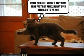 COME ON BILL! I KNOW U AINT THAT THAT FAST BUT PLEEZ, HURRY UP! I NEED A GO TO YA NO!!