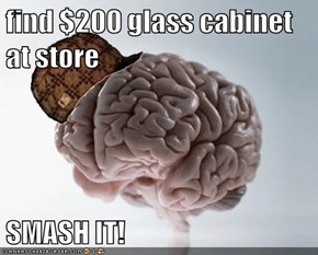find $200 glass cabinet at store  SMASH IT!