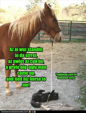 Az ai wuz standin  in da strret,  az qwiet az cud be, a grate big  ugly man  came up,  and tied hiz horse to me!