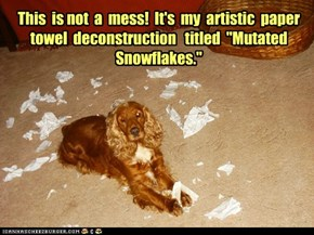 "This  is not  a  mess!  It's  my  artistic  paper  towel  deconstruction   titled  ""Mutated Snowflakes."""